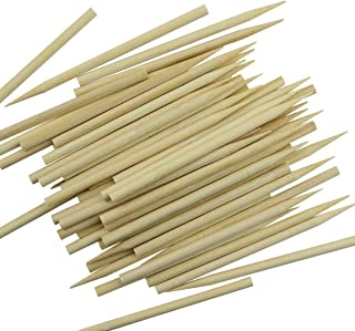 BcPowr 200PCS Roasting Sticks, Wooden Sticks for Food Candy Apple Sticks Barbecue Skewers Semi Pointed Sticks Environmenta...