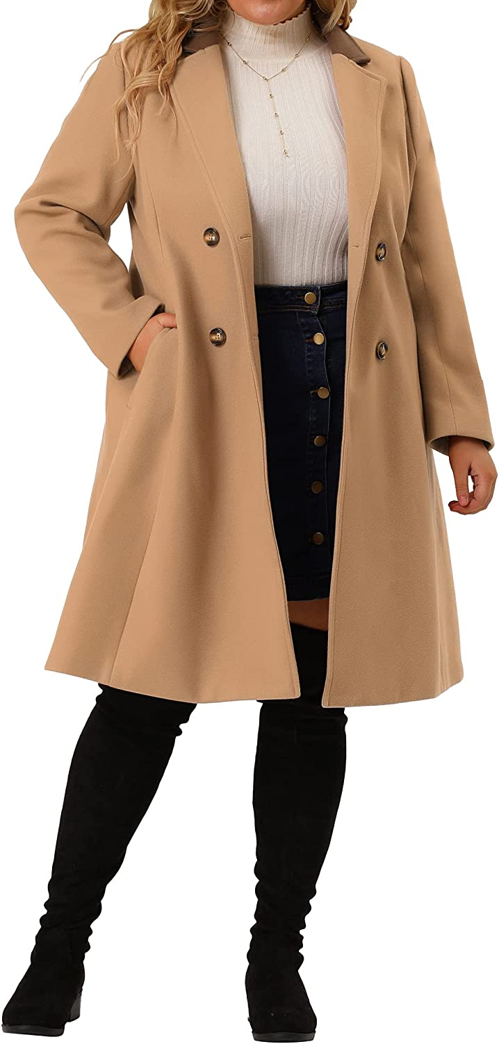 Agnes Orinda Plus Size Long Coats for Women Contrast Color Notched Lapel Winter Double Breasted Coat
