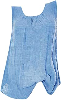 VJGOAL Camiseta sin Mangas para Mujer Camisetas de Tirantes Verano Casual Moda Color sólido Cuello Redondo Algodón Lino Ta...
