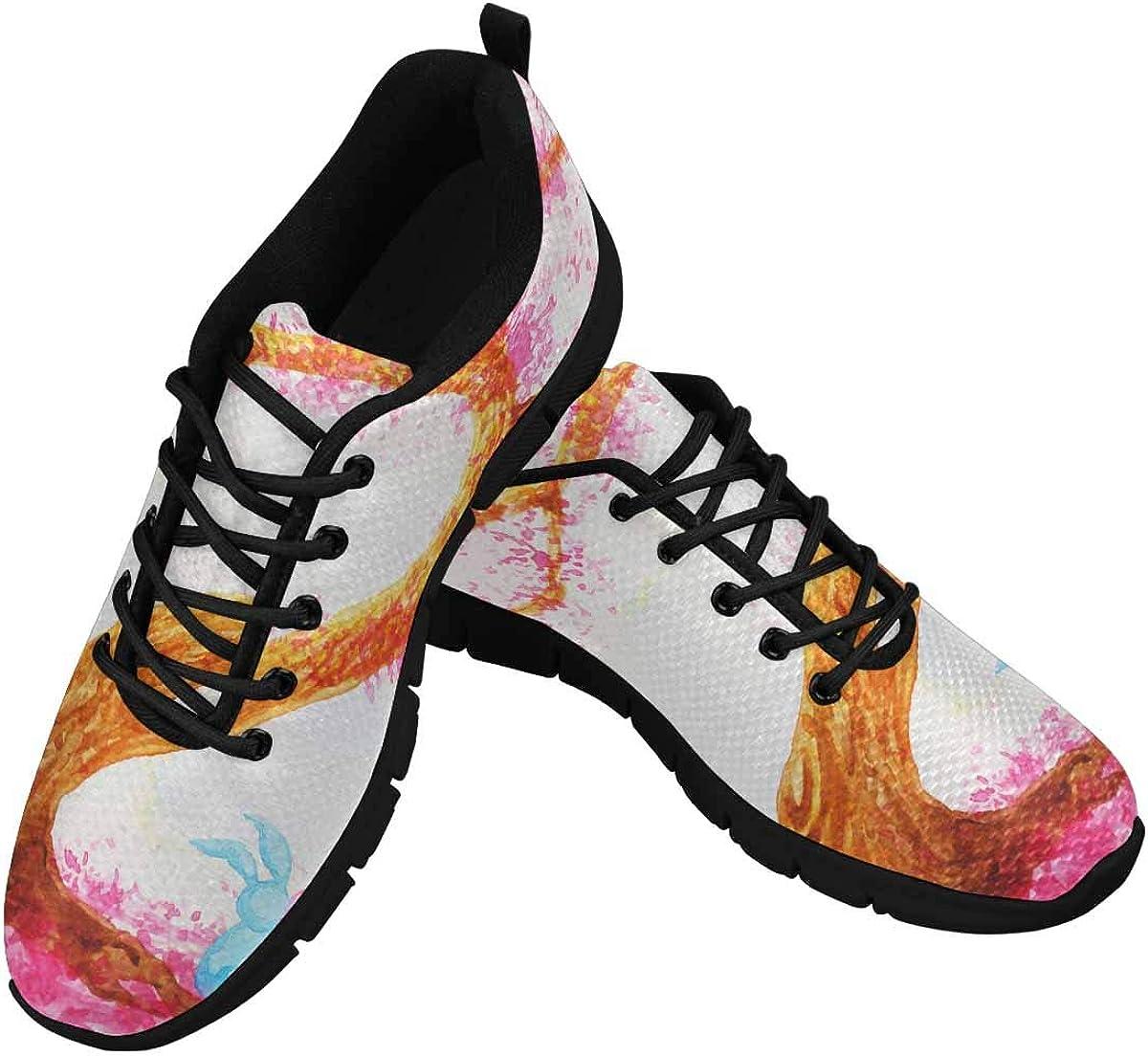 INTERESTPRINT Watercolor Rabbits Love Valentine Women's Athletic Walking Shoes Casual Mesh Comfortable Work Sneakers