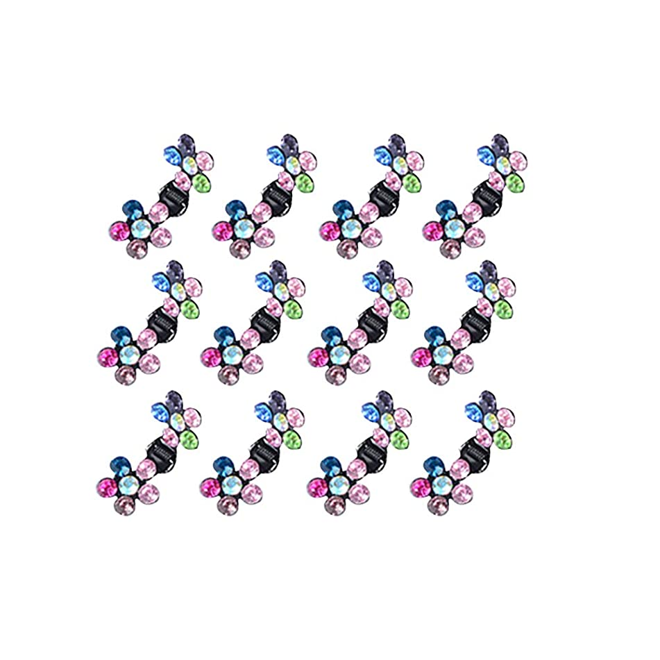 yingyue Fashion Shiny Faux Rhinestone Inlaid Floral Shape Mini Hair Claw Clip Clamp Baby Girl Hair Accessories Gift 12Pcs Multi-Color