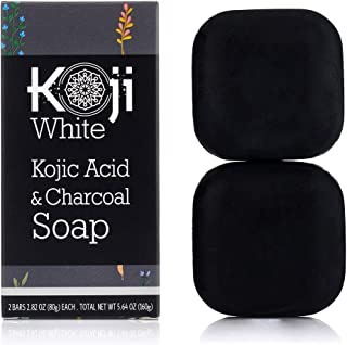Kojic Acid & Charcoal Black Soap (80ml / 2 Bars) - Skin Brightening & Smoothing for Scar Removal, Dark Spots, Acne, Eczema...