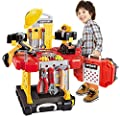 Toy Choi's 83 Pieces Kids Construction Toy Workbench for Toddlers Kids Workbench Construction Tool Bench Set, Boys Toy Work Shop Tools Workbench for Toddlers by Toy Choi's