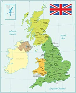 United Kingdom Map with Flag Cool Wall Decor Art Print Poster 24x36