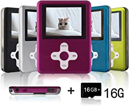 Lecmal Portable MP3 Player MP4 Player with 16Gb Micro SD Card and FM Radio, Multi-Function Music Player with Mini USB Port, Mp3 Recorder, Media Player for Children-(Pink)