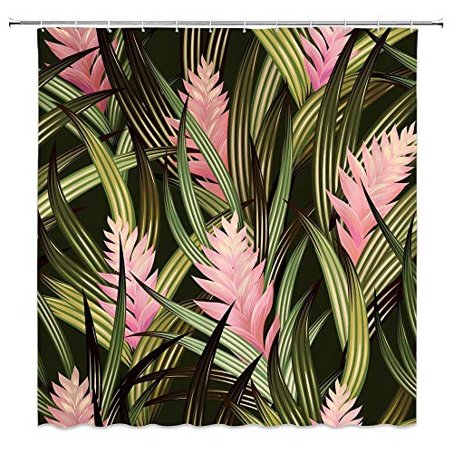 MNSC Tropical Leaves Shower Curtain Banana Leaf Watercolor Flowers Palm Tree Jungle Leaf Plant Exotic Forest Floral Garden Nature Design Image Decor Fabric Bathroom Curtain with Hooks,Green