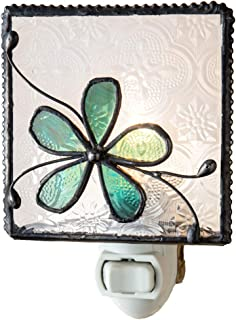 Flower Night Light Decorative Accent Lite Wall Plug in Nightlight for Hallway Bedroom Bathroom Nursery Kitchen Turquoise Blue Home Décor J Devlin NTL 129-3