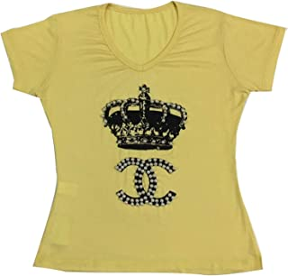 T-shirt na cor amarelo bordada com detalhe de coroa 01