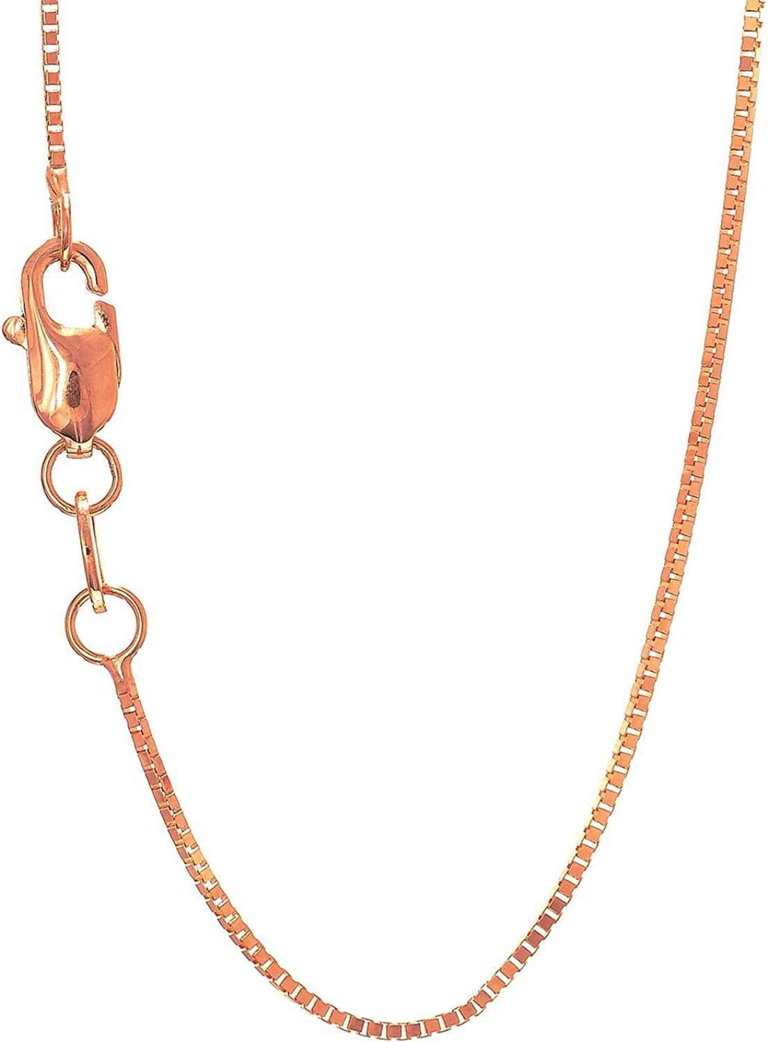JewelStop 10k Solid Gold Yellow White & Rose 0.45mm Box Chain Necklace, Lobster Claw 18''