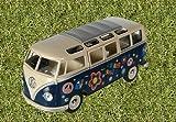 Kinsmart - Maqueta de coche Volkswagen 1962 VW Bus Flower Power Print 1:24, color azul