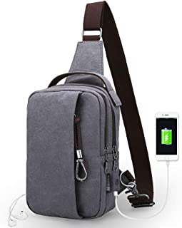 Chest Bag Men's Canvas Shoulder Bag Messenger Bag Small Backpack Sports Leisure USB Charging Crossbody Bags (Color : Gray)