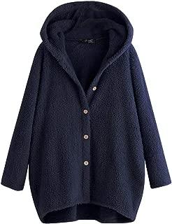 Psunrise Women Warm Fleece Long Sleeve Pocket Sweatshirt Button Cardigan Solid Hoodie Top Coats
