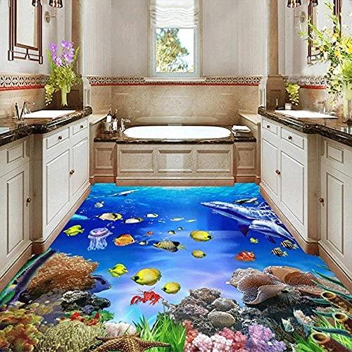 Papel tapiz mural personalizado pegatinas de suelo estereoscópicas 3D SeaWorld mural de baño desgaste antideslizante piso autoadhesivo-350x245cm