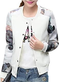 Mogogo Women's Floral Print Spring Casual Baseball Sleeve Outwear Jackets