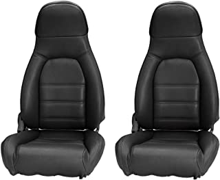 AutoBerry Compatible with Mazda Miata Front Seat Cover Kit Standard Seats Black Leatherette 1990-1996