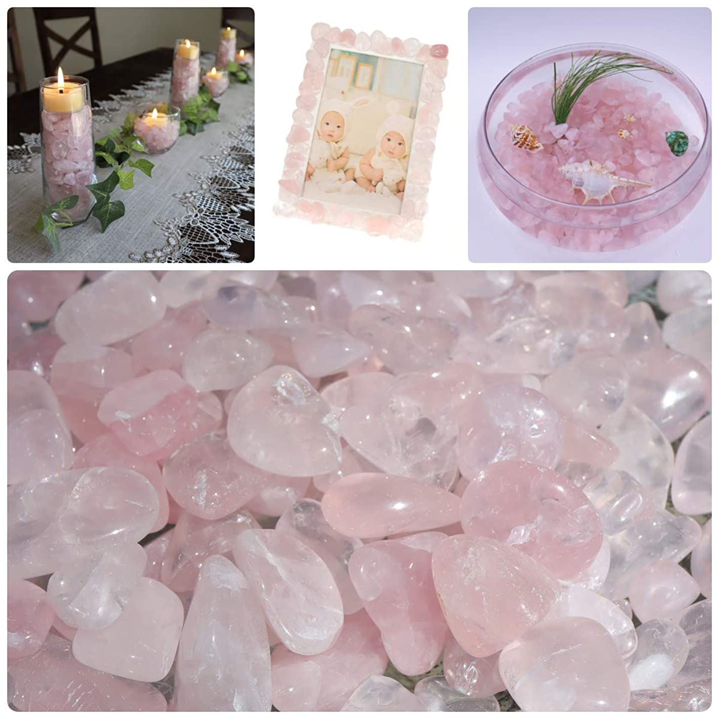 NatureWonders Rose Quartz Crystal (Icy Pink) Tumbled Chips (1 Cup) All Natural Crystals for Vase Filler, Candle Holder Fillers, Table Decorations, Centerpieces, Aquarium, Art - Polished Surface