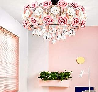 MoreChange 19.5inch Crystal Ceiling Light Fixtures Flush Mount Ceramic Rose Flowers, Chandelier Pendant Lighting with 5-Light E14 Socket for Living/Dining Room Bedroom Girl Room