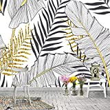 Pared de fondo de TV Fondo de hoja de plátano planta nórdica mural sala de estar dormitorio Pared de fondo de TV selva tropic papel pintado a papel pintado pared dormitorio autoadhesivo-430cm×300cm
