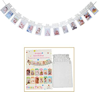 Milestone Photo Banner,EHIOG 1st Birthday Bunting Garland Baby Photo Banner Baby 1-12 Month Photo Prop Party Bunting Decor Thickened Banner (Silver)