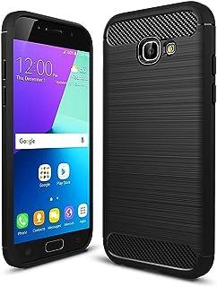 COPHONE Funda Samsung Galaxy A3 2017 A320, Negro Silicona Fundas para A3 2017 A320 Carcasa Fibra De Carbono Funda Case