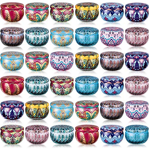 36 Pieces Multi-Color Tinplate Jars Candle Tin 12 Colors Round Containers 2.2oz Storage Holders Candle Making Kits for Party Favors Home Use