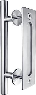 SMARTSTANDARD 12 Inch Heavy Duty Sliding Barn Door Handle, Stainless Steel Pull and Flush Hardware Set, Round
