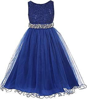 Wedding Flower Girl's Sequined Shining Crystal Waist Evening Dress up 2-14 Years