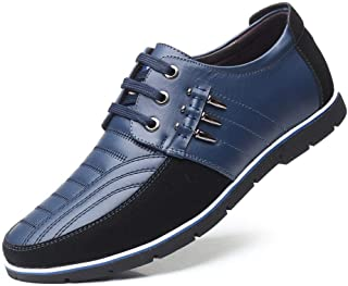 XinQuan Wang Casual Oxford for Men Leisure Fashion Sneaker Breathable Dress Shoes Lace up Genuine Leather Round Toe Wear Resistant Classic (Color : Blue, Size : 8.5 UK)