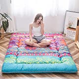 Bohemian Retro Floor Mattress Boho Floral Style Japanese Futon Mattress Tatami Floor Mat Foldable Bed Portable Camping Mattress Sleeping Pad Floor Lounger Couch Bed Twin Size