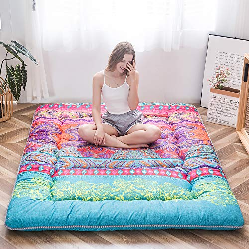 Bohemian Retro Floor Mattress Boho Floral Style Japanese Futon Mattress Tatami Floor Mat Foldable Bed Portable Camping Mattress Sleeping Pad Floor Lounger Couch Bed Queen Size