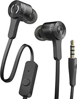 MuveAcoustics Spark Wired in-Ear Headphones - Sports Noise Cancelling Stereo Earbuds with Mic for Men and Women, Black