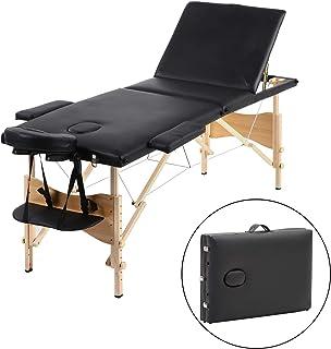Meerveil Table de Massage, Pliante de 3 Sections Lit Cosmétique Pliante en PU et en Bois, avec l'Appui-Tête Amovible, Acco...