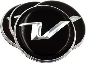 V Logo Wheel Cap Emblem Overlay Set 4pc for Hyundai Veloster (Loden)