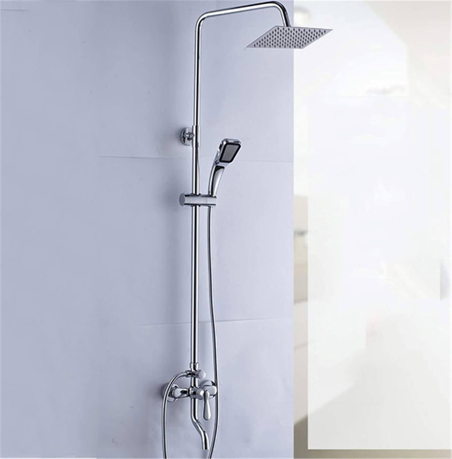 Shower Head Set Copper Wall-Mounted Bathroom 3 Exit Nozzle redating Rise Drop Silver White Plating