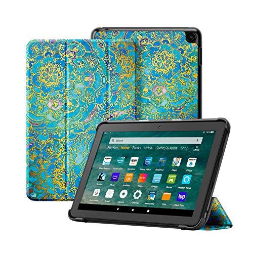 OLAIKE Funda Solo para la Nueva Tableta Kindle Fire HD 8 y la Tableta Fire HD 8 Plus (10a generación, versión 2020), Cubierta de Soporte Triple con Reposo / activación automático,Tótem de Mandala