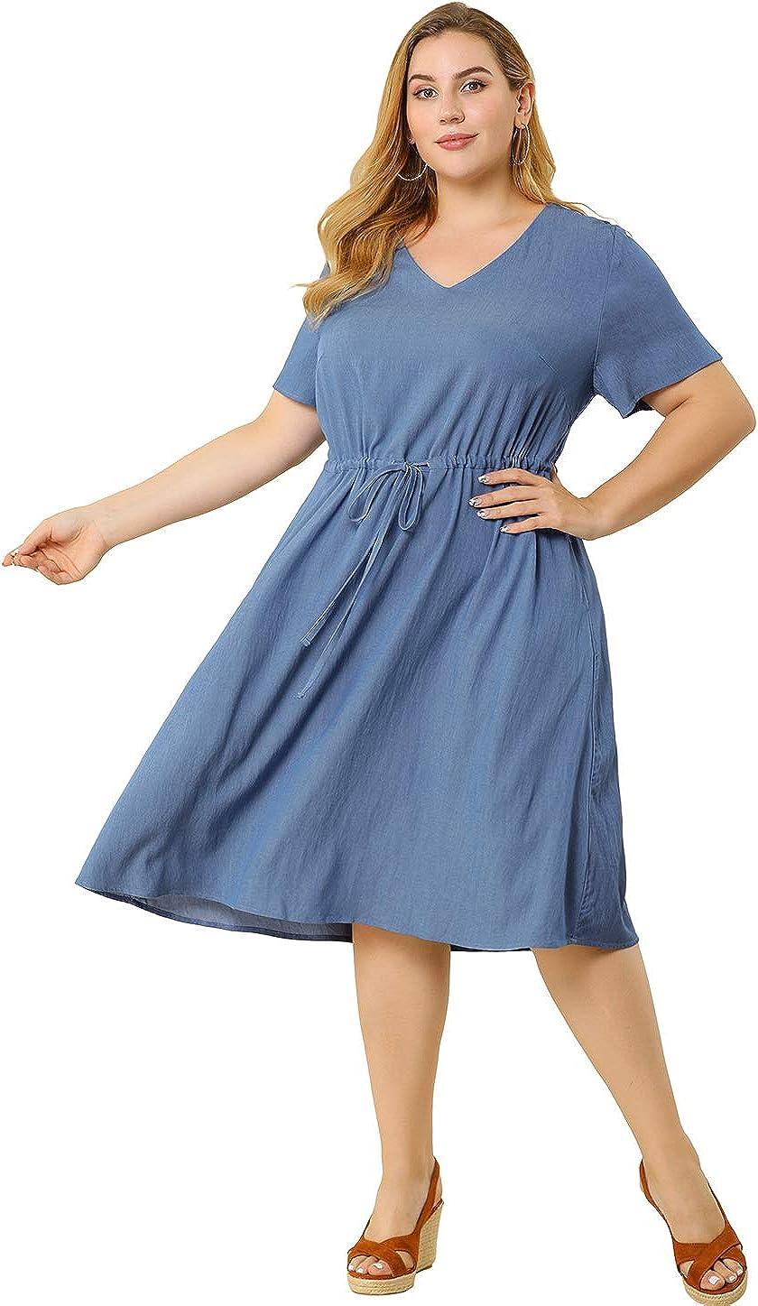 Agnes Orinda Women's Plus Size Dress V Neck Short Sleeve a Line Chambray Denim Dresses
