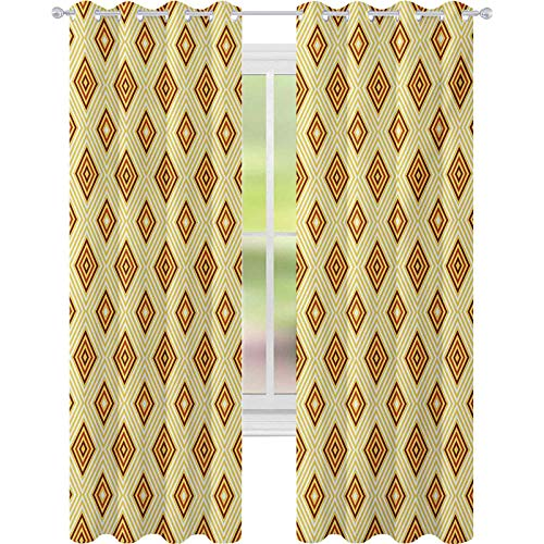 Thermal Insulated Curtains, Old Fashioned Diamond Shapes with Inner Lines Sixties Style Rhombus Design, W52 x L72 Blackout Drape for Dining Room, Pale Yellow Amber
