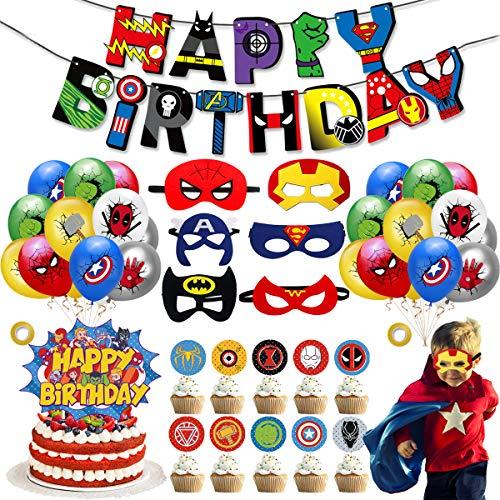 YWQ 44 Pièces Décoration de fête d'anniversaire de Super-héros,Ballons de Superhero Anniversaire Décoration Kit,Ballon de Joyeux Anniversaire Avengers pour Superhero Theme Party Supplies