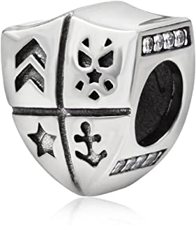 Shield Charm 925 Sterling Silver Picture Charm United States National Guard Police Badge Charms for Pandora Charm Bracelet