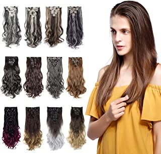 S-noilite 24 Inches Long Curly Full Head Clip in Synthetic Hair Extensions 8pcs 170g (24#-Ash Blonde)