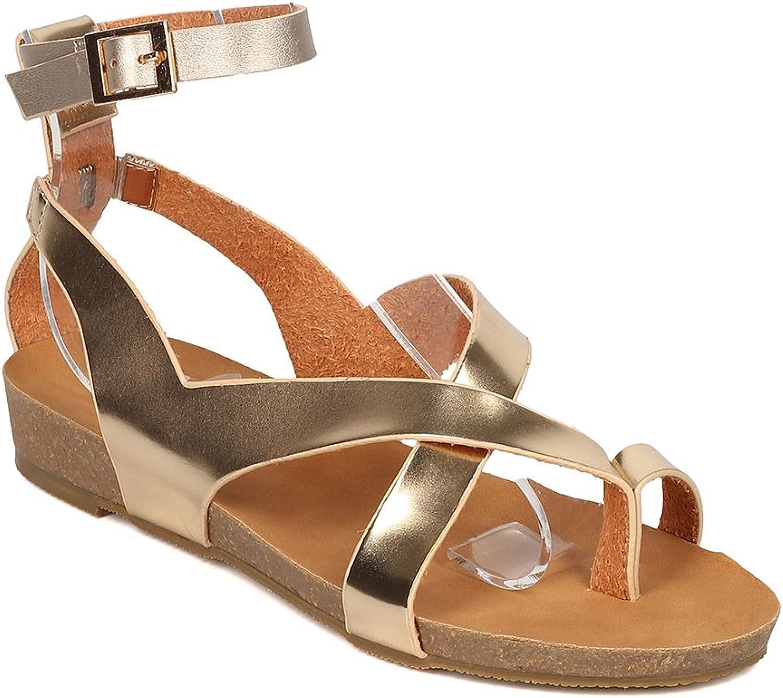 Alrisco Women Leatherette Strappy Footbed Gladiator Sandal GI56
