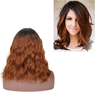 Colorful Ombre Brown Synthetic Wigs Short Bob Wave Curly Wigs For Women Middle Part Natural Looking and Full Head Resistant Hair Replacement Costume Wigs For Halloween Party Daily Use + Free Wig Cap …