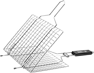 Flameer BBQ Fish Grill Basket Barbecue Wire Mesh Clip Basket Grilling Cooking Tool