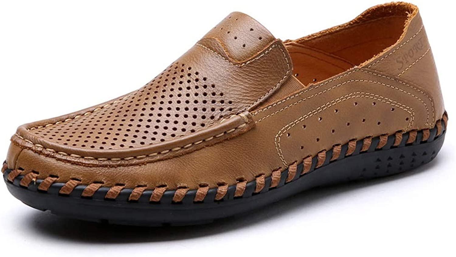 Oxford shoes Compatible Men Formal shoes Slip On Style OX Leather Hand Drawing Hollow(Lace Up Optional) (color   Slip on Light Brown, Size   5.5 UK)