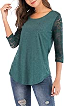Anbenser 3/4 lace Sleeves T-Shirt for Women Casual Blouse Round Neck Tunic Tops