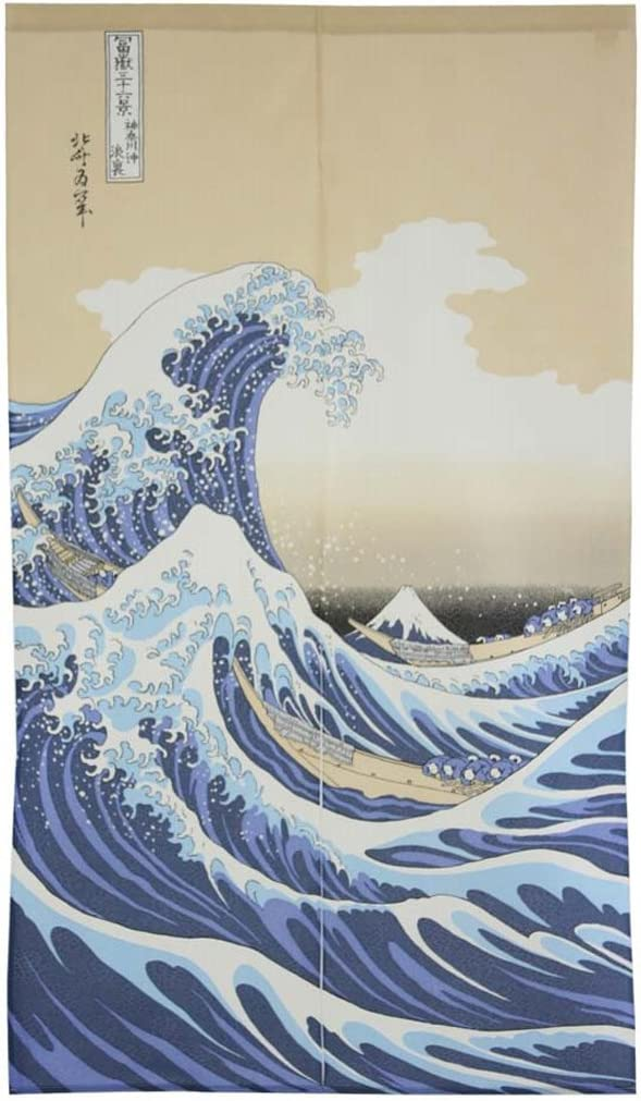 Denelchon Max 60% OFF Made in Japan In stock Noren Tapestry Ukiyoe Th Curtain Hokusai
