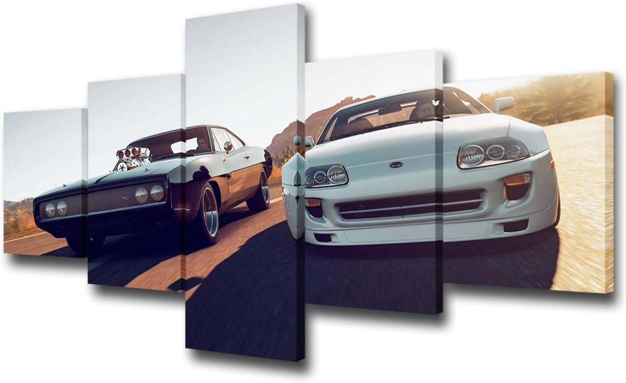 Canvas Wall Art 5 Panel Supra Artwork Dallas cheap Mall HD Pic Printed Racing Car