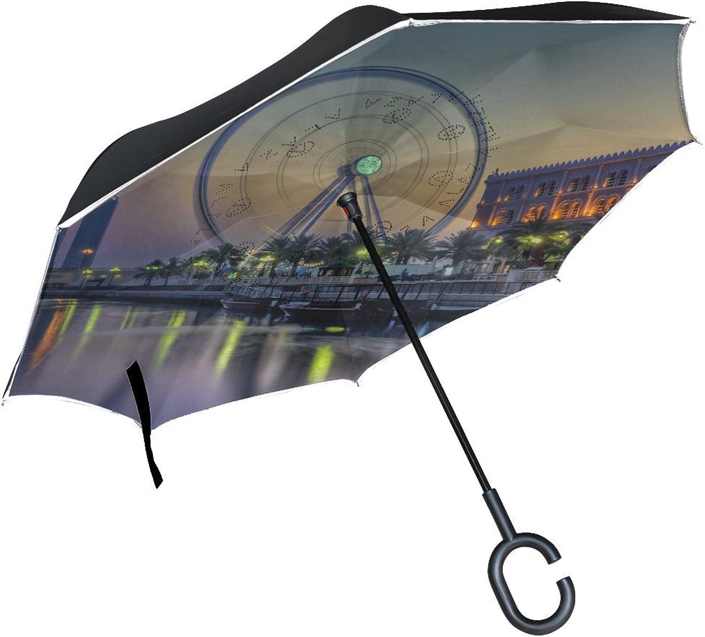 Countriy UAE Sharjah Spectacular Panoramic Landscape Beautiful Great Grand Ingreened Umbrella Large Double Layer Outdoor Rain Sun Car Reversible Umbrella