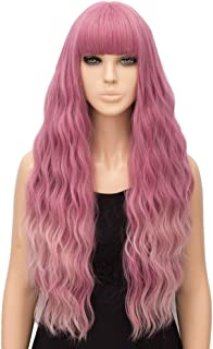 netgo Pink Ombre Wig for Women Long Wavy Heat Resistant Fiber Wigs Side Bangs Cosplay Party
