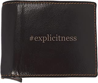 #explicitness - Soft Hashtag Cowhide Genuine Engraved Bifold Leather Wallet